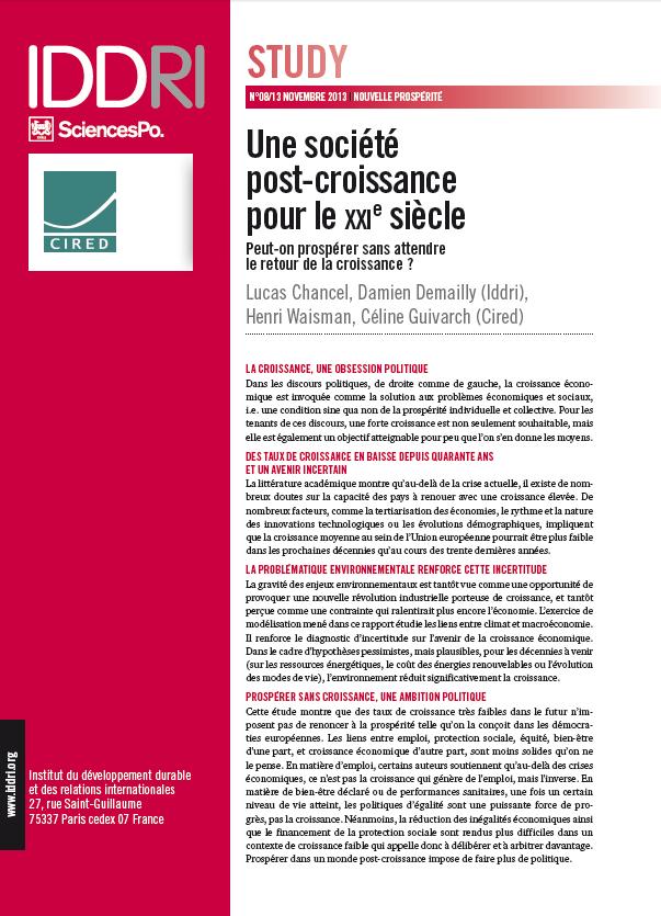 """Premier page du étude """"Une société post-croissance pour le XXIe siéclé"""