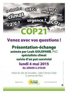 reunion sur COP21 à Versailles le 4 mai 2015